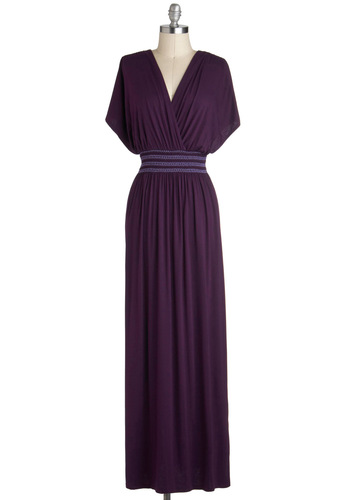 Rebecca to Basics Dress - Long, Purple, Solid, Casual, Maxi, Short Sleeves, V Neck, Embroidery, Beach/Resort, Fall, Knit