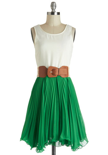 My Kind of Twirl Dress - Green, Pleats, Belted, Casual, Sleeveless, Mid-length, White, Twofer