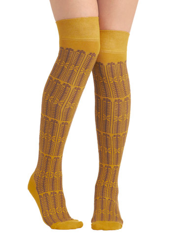 Goldi-Socks - Yellow, Brown, Print, Cotton