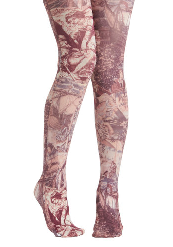 Rockin' Renaissance Woman Tights by Look From London - Red, White, Print, French / Victorian, Novelty Print