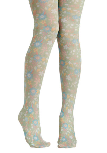 Pale in Comparison Tights by Look From London - Green, Multi, Floral, Fairytale, 60s, Pastel
