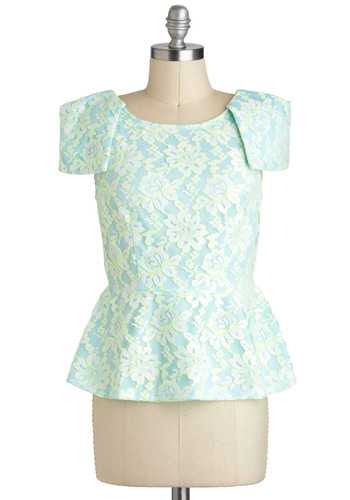 Nicole's Out of the Extraordinary Top - Blue, Yellow, Neon, Lace, Peplum, Short Sleeves, Short, Party, Cocktail, Luxe