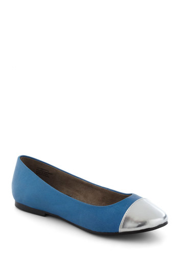Think of Me Pondly Flat by BC Shoes - Blue, Flat, Leather, Silver