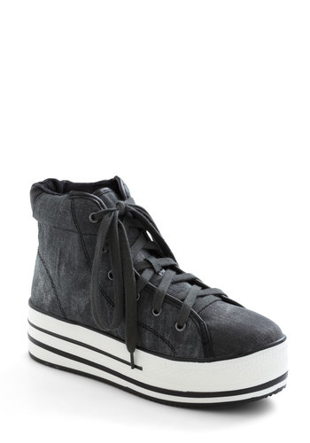 Kickin' It Complex Sneaker in Distressed Black - Black, Solid, Lace Up, Low, Urban, Variation