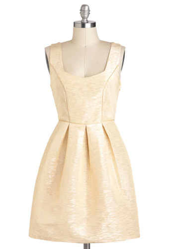 Winter Wanderlust Dress - Solid, Pleats, Wedding, Party, A-line, Short, Gold, Cutout, Sleeveless, Tan / Cream, Holiday Party