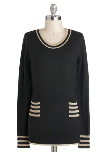 Sense of Sparkle Sweater by Tulle Clothing - Black, White, Pockets, Long Sleeve, Mid-length, Casual, Scholastic/Collegiate