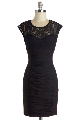 Gallery Gathering Dress - Black, Solid, Lace, Ruching, Shift, Mid-length, Cocktail, Cap Sleeves, Cutout, Crew, LBD