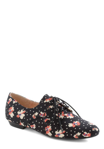 Walk on Flair Flat in Black Rose - Black, Multi, Polka Dots, Floral, Menswear Inspired, Lace Up, Flat, Variation
