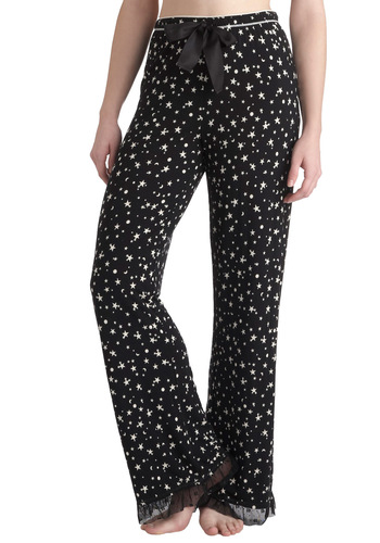 At First Starlight Sleep Pants - Black, White, Print, Ruffles, Trim