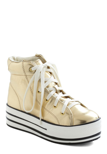 Kickin' It Complex Sneaker in Gold - Gold, Solid, Lace Up, Low, Urban, Statement, Variation