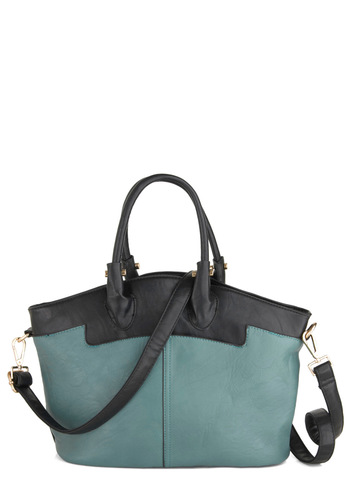 My Cup of Teal Bag - Blue, Solid, Faux Leather, Work, Urban