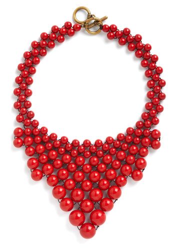 Bead My Baby Necklace - Red, Solid, Beads, Statement, Holiday Party