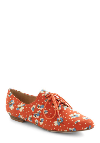 Walk on Flair Flat in Orange Blossom - Orange, Multi, Polka Dots, Floral, Menswear Inspired, Lace Up, Flat, Variation