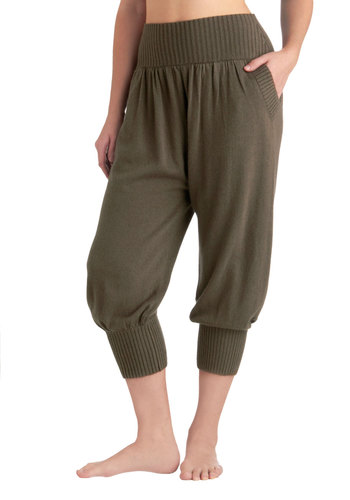 Log Cabin Lounge Pants in Pine - Green, Solid, Pockets, Casual