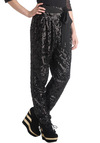 MC Glamour Pants by Ladakh - Black, Solid, Sequins, High Waist, Belted, Party, Girls Night Out