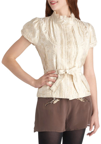 Choux Pastries Top - White, Solid, Lace, Belted, Special Occasion, Work, Daytime Party, Vintage Inspired, French / Victorian, Short Sleeves, Short, Pockets