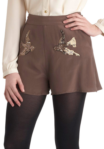 Birds and the Beads Shorts - Tan, Print with Animals, Beads, Sequins, Luxe, Pockets, Party, Daytime Party
