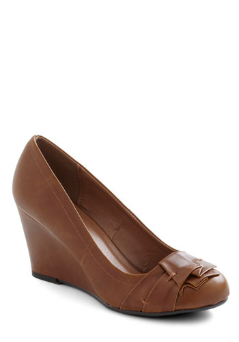 Have a Caramel Wedge - Tan, Solid, Pleats, Wedge, Mid, Faux Leather, Work, Vintage Inspired, Top Rated