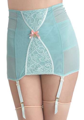 Wandering Thoughts Garter Skirt - Green, Solid, Bows, Lace, Pinup, 50s, Sheer