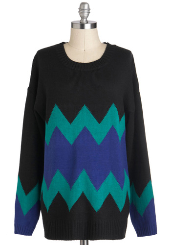 It's Out of the Zag Sweater - Black, Green, Blue, Knitted, Casual, Long Sleeve, Winter, Mid-length, 90s