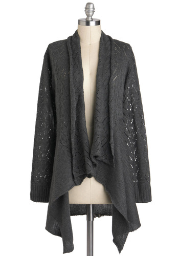 Graceful Morning Cardigan - Mid-length, Grey, Solid, Knitted, Casual, Long Sleeve