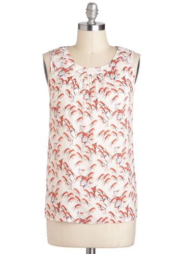 Chickadee Doo Dah Top - White, Multi, Print with Animals, Casual, Sleeveless, Sheer, Mid-length
