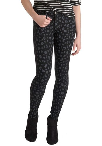 A Head Above the Rest Pants - Black, Silver, Pockets, Casual, Skinny, Statement, Urban, Novelty Print