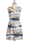 Glacial Relationships Dress - Print, Pleats, A-line, Sleeveless, Short, Blue, Grey, Exposed zipper, Party