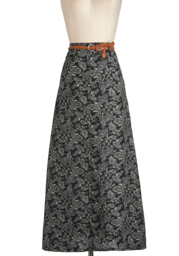 Paisley and Benefits Skirt - Long, Black, White, Paisley, Belted, Work, Vintage Inspired, Maxi, Boho, 60s