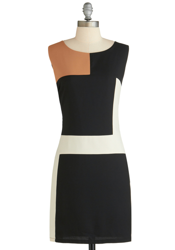 In De Stijl of the Night Dress - Short, Black, Tan / Cream, White, Work, Mod, Colorblocking, Shift, Sleeveless, 60s, Exclusives