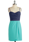 Horizon My Mind Dress - Short, Blue, Sheath / Shift, Twofer, Spaghetti Straps, Pleats, Party, Exclusives