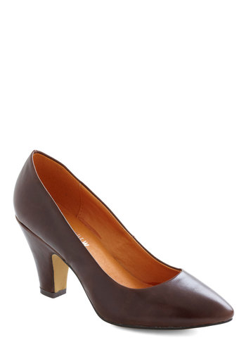 If You Only Neutral Heel in Earth by Chelsea Crew - Mid, Leather, Brown, Solid, Work, Vintage Inspired, Variation