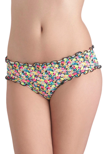 Splashed With Color Swimsuit Bottom - Multi, Floral, Ruffles, Summer, Beach/Resort, Neon