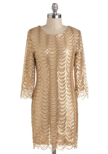 Glitz and Garlands Dress - Gold, Sequins, Mid-length, Scallops, Holiday Party, Sheath / Shift, 3/4 Sleeve