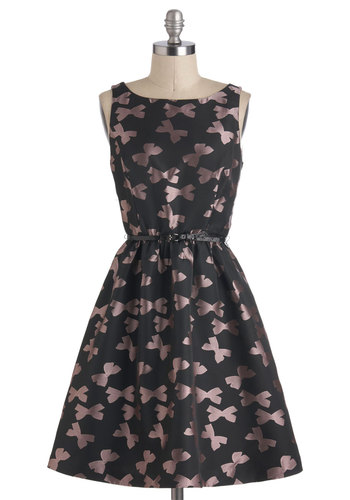 Gift Swap Dress - Black, Pink, Novelty Print, Party, A-line, Sleeveless, Belted, Mid-length, Pockets, Cocktail, Luxe, Holiday Party, 50s