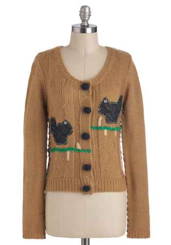 Crafter My Own Heart Cardigan by Knitted Dove - Brown, Green, Print with Animals, Embroidery, Knitted, Long Sleeve, Short, Work, Casual