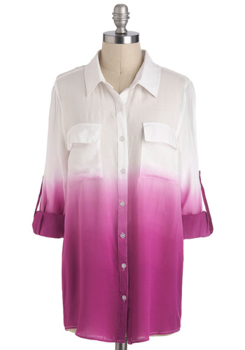 Live and Let Dip Dye Top in Red-Violet - Mid-length, White, Tie Dye, Buttons, Pockets, Casual, Long Sleeve, Collared, Purple