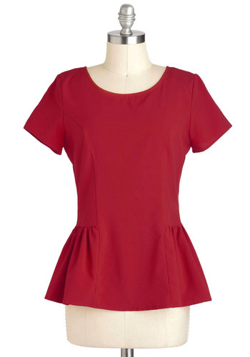 I Saw the Sun Top in Sunset - Red, Solid, Exposed zipper, Party, Peplum, Short Sleeves, Mid-length, Minimal, Variation