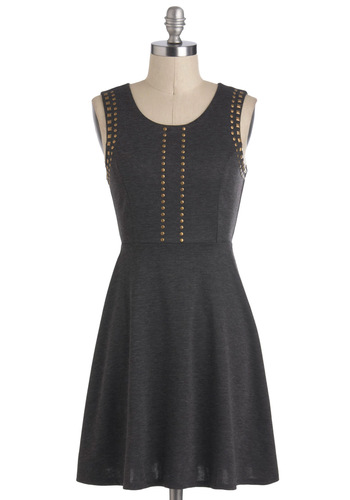 Opening Set in Stone Dress - Short, Grey, Gold, Studs, A-line, Sleeveless, Casual, Urban
