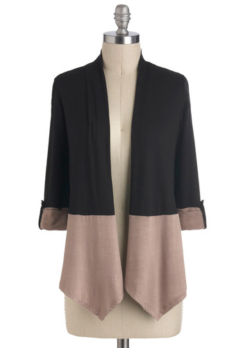 Freelance Finesse Cardigan - Jersey, Short, Black, Grey, Solid, Work, Colorblocking, 3/4 Sleeve, Winter