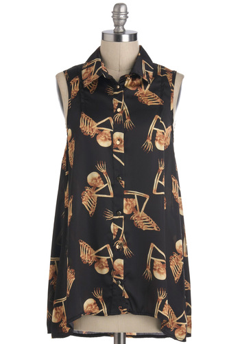 Julie's Return of the Macabre Top - Mid-length, Black, Print, Buttons, Party, Steampunk, Sleeveless, Collared, Novelty Print, Casual, Statement, Quirky