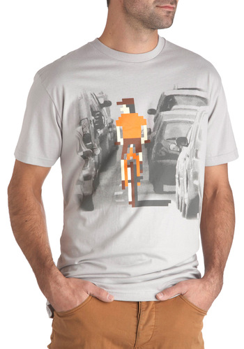 Jake's System Development Cyclist Men's Tee - Grey, Orange, Brown, Casual, Short Sleeves, Cotton, Novelty Print, Guys