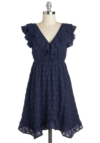 Come on Indigo Dress by Tulle Clothing - Blue, Ruffles, Empire, Short, Solid, Party