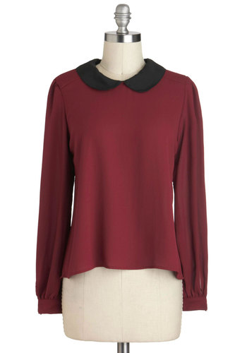 Don Burgundy Top - Chiffon, Sheer, Short, Red, Black, Solid, Peter Pan Collar, Work, Vintage Inspired, Long Sleeve, Collared