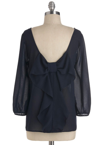 Flash Fête Top in Navy - Blue, Solid, Bows, Work, 3/4 Sleeve, Sheer, Mid-length, Top Rated