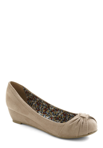 Sand Me On My Way Wedge - Grey, Solid, Ruching, Wedge, Low, Work, Casual