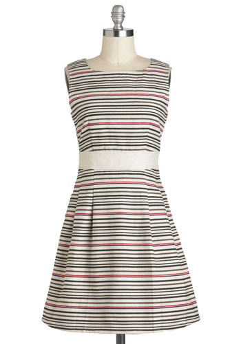 Weave Made It Dress by Tulle Clothing - Multi, White, Stripes, Bows, Pockets, A-line, Cotton, Mid-length, Grey, Casual, Sleeveless
