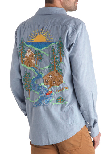 Panfilo's Commune with Nature Shirt - Long, Blue, Green, Brown, White, Solid, Buttons, Embroidery, Casual, Quirky, Long Sleeve, Collared
