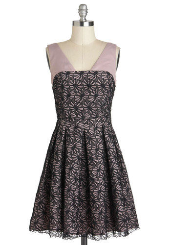 Affection for Confections Dress in Lilac - Purple, Black, Floral, Pleats, Party, A-line, Sleeveless, Mid-length, Lace, Cocktail, Film Noir