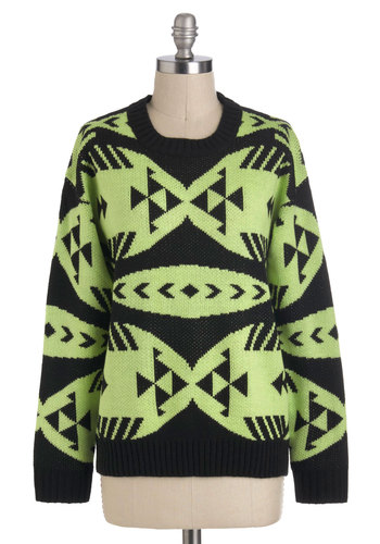 Brittney's So Stylistic Sweater - Green, Black, Knitted, Casual, Long Sleeve, Winter, Mid-length, 80s, Quirky